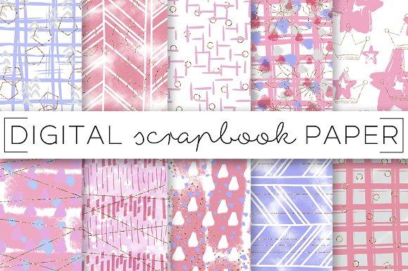 Pink Purple Baby Digital Papers