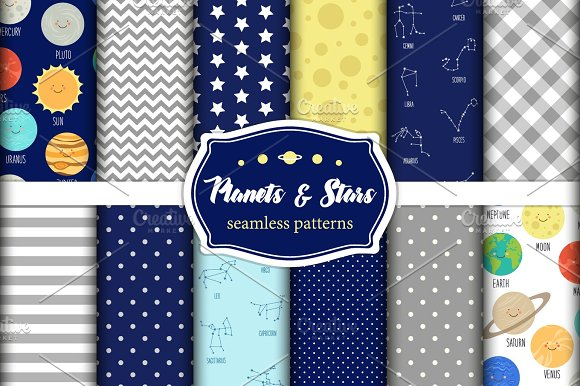 Cute set of childish seamless patterns with smiling cartoon characters of planets of solar system, stars, constellations