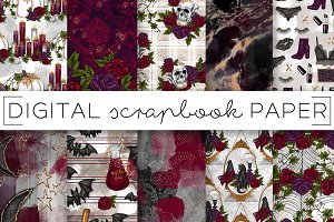 Halloween Floral Digital Papers