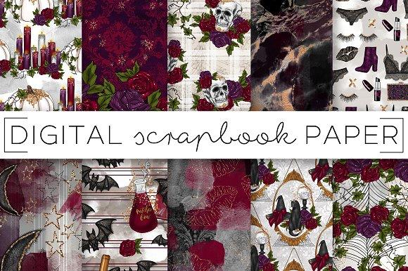 Halloween Floral Digital Papers