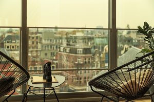 Cafe with view of Amsterdam