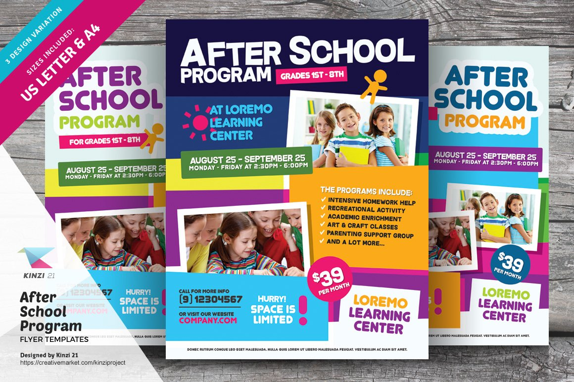 After School Program Flyer Templates Flyer Templates Creative - School brochure templates