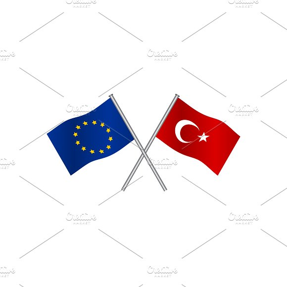 Flags Of EU And Turkey