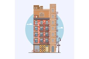 Flat design of retro and modern city houses. Elements for the construction of urban landscapes