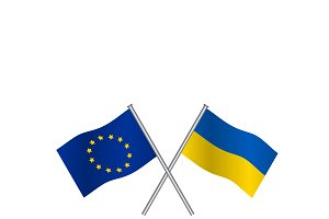 EU and Ukraine flags