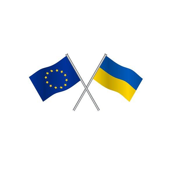 EU And Ukraine Flags