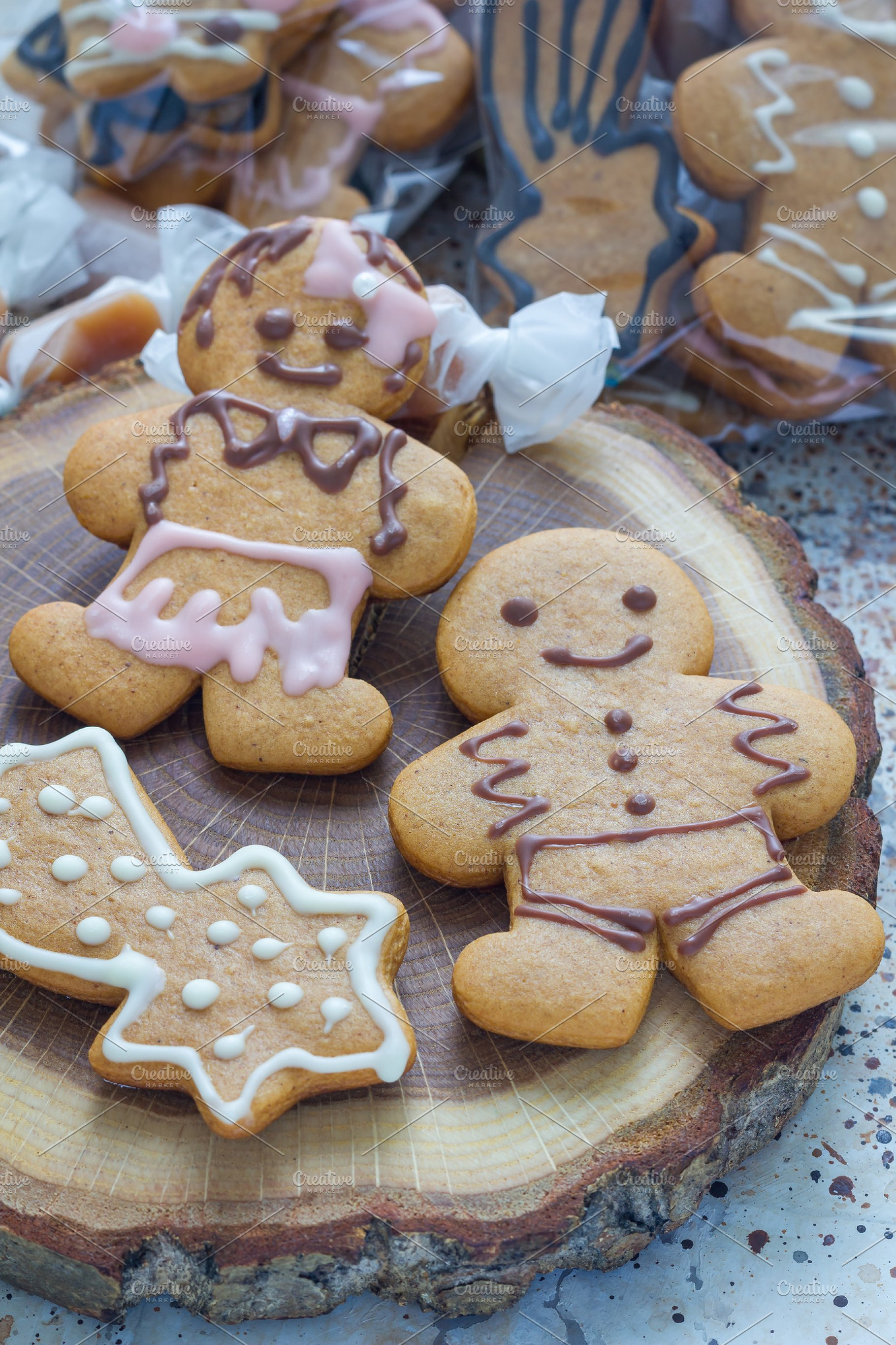 Sweet Gifts For Holiydays Homemade Christmas Gingerbread Cookies And Caramel Candies On A Wooden Board Vertical