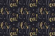 Seamless pattern I love you vector