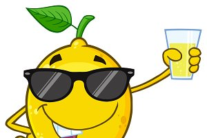 Lemon Fruit With Sunglasses
