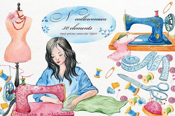 Sewing Machine Clipartwatercolor Illustrations Creative Market Impressive 4 Pics 1 Word Woman With Scissors Sewing Machine