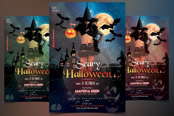 Scary Halloween PSD Flyer Template