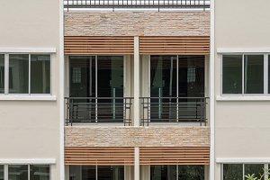 Closeup balconies and windows