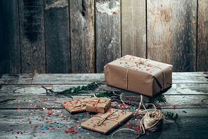 Christmas gifts and confetti