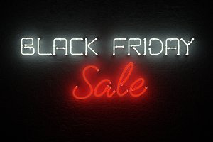 Black friday sale neon background.
