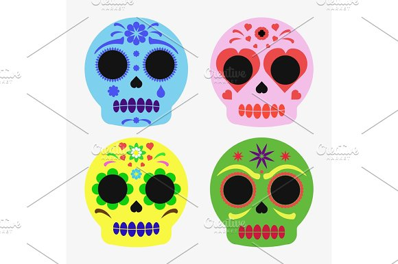 Mexican Sugar Skull Set Day Of The Dead Poster