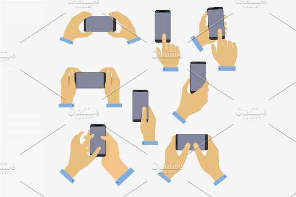Set Of Hands Holding Smart Phone