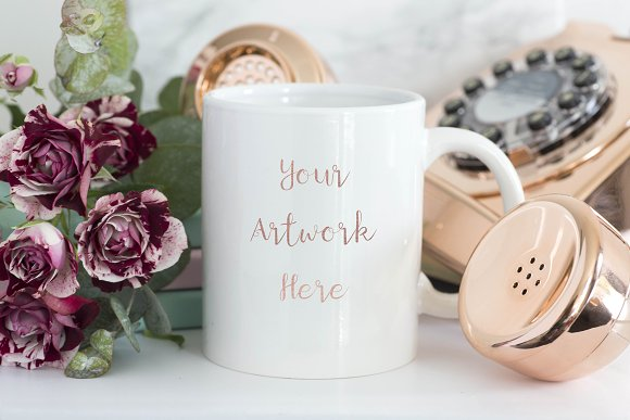 Mug Mockup With Rose Gold