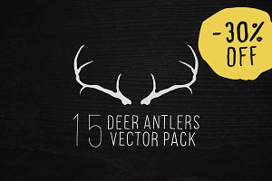 Hand Drawn Deer Antlers Vectors
