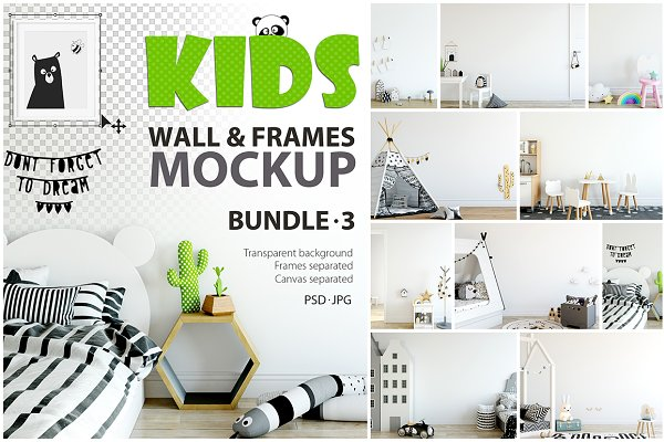 KIDS WALL & FRAMES Mockup Bundle -…