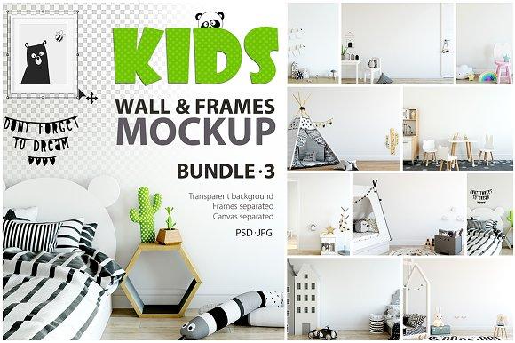 Free KIDS WALL & FRAMES Mockup Bundle - 3