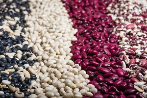 Dried red and white beans