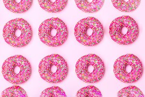 Pattern of a pink donut. flat lay
