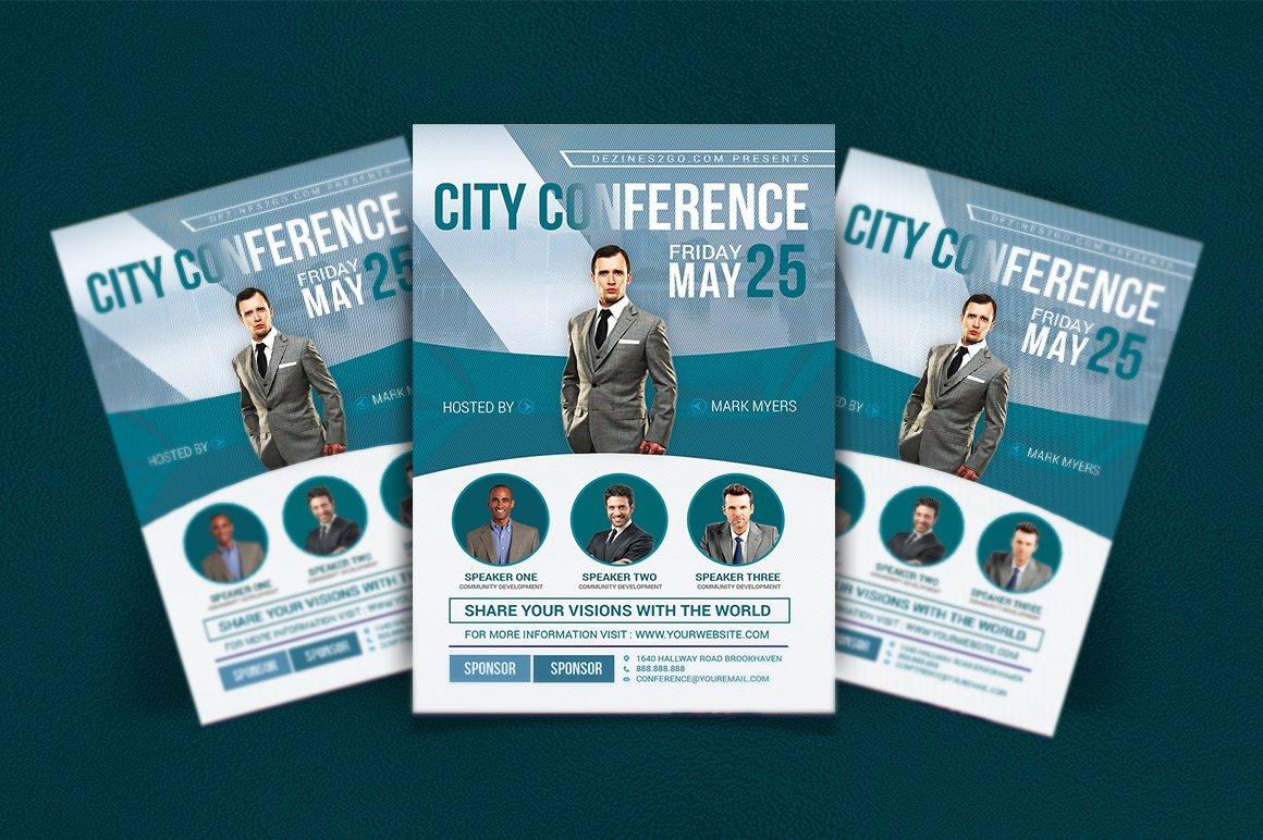 city conference business flyer flyer templates creative market. Black Bedroom Furniture Sets. Home Design Ideas