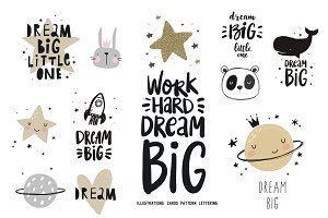 Dream BIG poster, card, notebook
