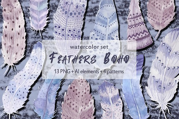 Watercolor feathers Boho-Graphicriver中文最全的素材分享平台