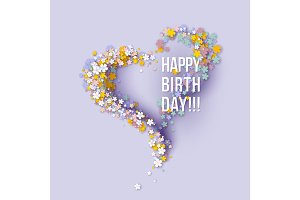 Happy birthday poster frame flowers heart shaped