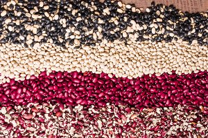 Dried beans in pattern