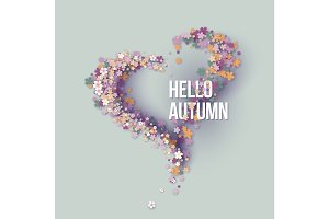 Hello autumn title texts poster