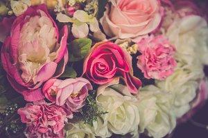 Retro bouquet rose flower