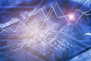 Business trading graph and money