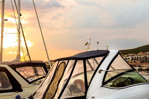 Sunset over the yacht marina in Saint Vlas, Bulgaria