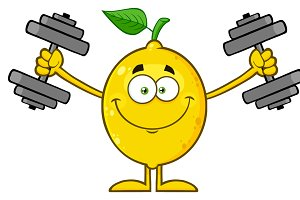 Smiling Yellow Lemon With Dumbbells
