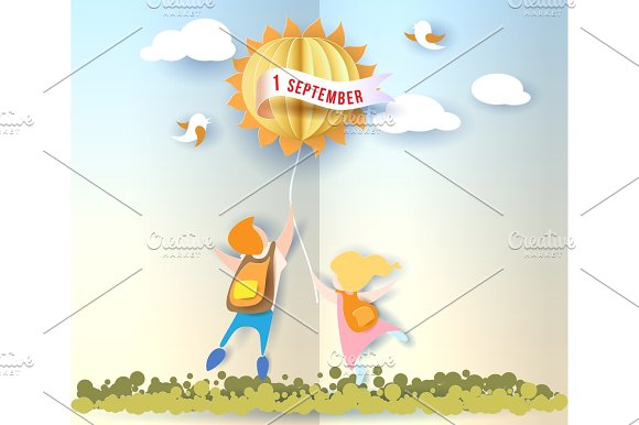 Back To School Card With Kids Leaves And Sun