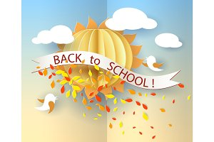 Back to school card with birds, leaves and sun