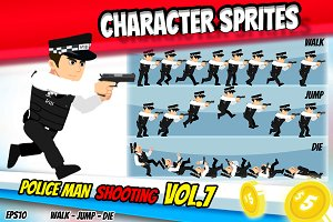 Character Sprite Policeman & GUN 7
