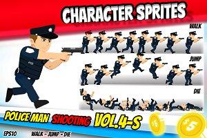 Character Sprite Policeman & GUN 4-S