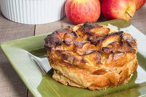 Apple bread pudding with apples