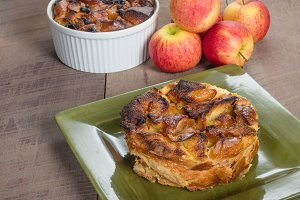 Homemade apple bread pudding