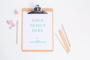 Clipboard Mockup with Colored Pencil