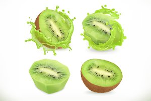 Kiwi fruit juice. Vector