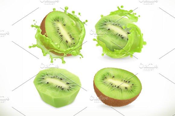 Kiwi Fruit Juice Vector