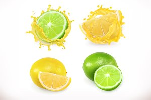 Lemon and lime juice. Vector