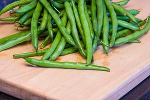 Fresh green snap beans