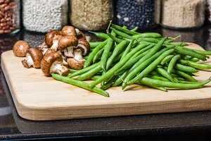 Cutting board with beans