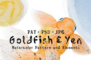 Goldfish and Yen Watercolor Pattern