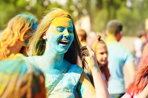 Girls paint holi